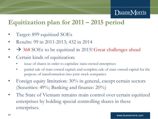www.duanemorris.com Equitization plan for 2011 – 2015 period • Target: 899 equitized SOEs • Results: 99 in 2011-2013; 432 ...