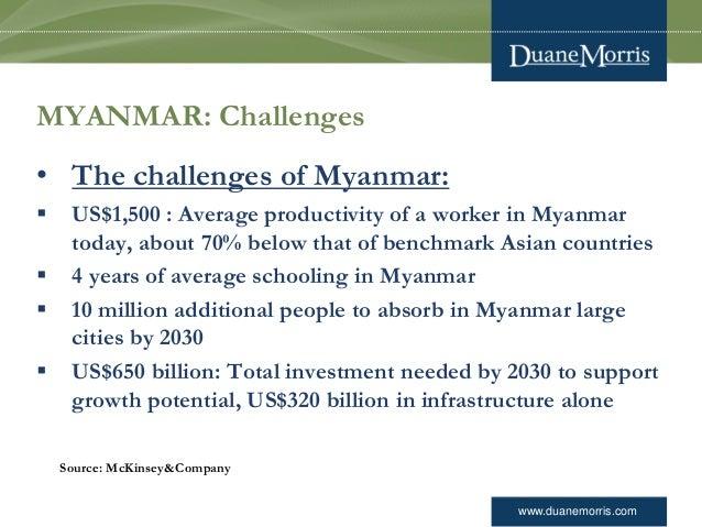 www.duanemorris.com MYANMAR: Challenges • The challenges of Myanmar:  US$1,500 : Average productivity of a worker in Myan...