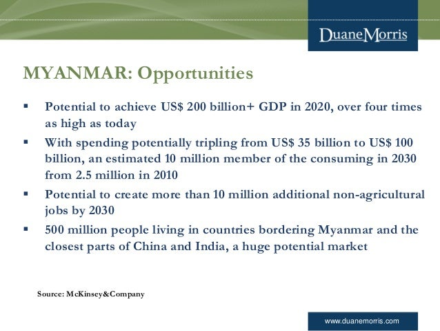 www.duanemorris.com MYANMAR: Opportunities  Potential to achieve US$ 200 billion+ GDP in 2020, over four times as high as...