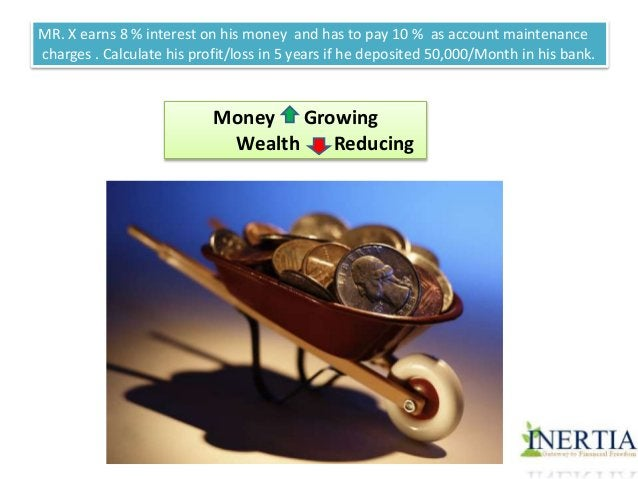 MR. X earns 8 % interest on his money and has to pay 10 % as account maintenance  charges . Calculate his profit/loss in 5...