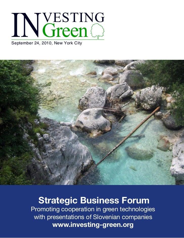 INGreen VESTINGSeptember 24, 2010, New York City Strategic Business Forum  Promoting ...