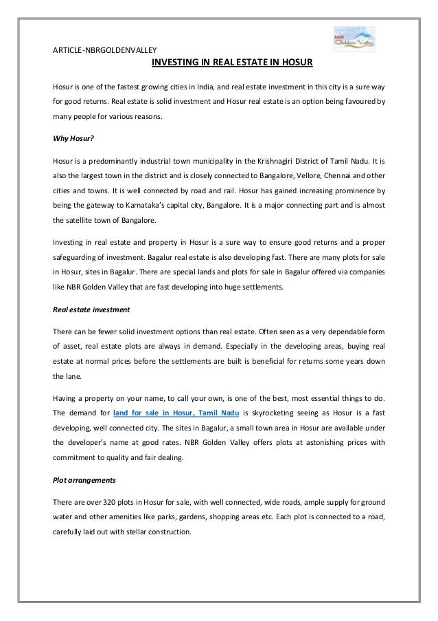 Hosur real estate investment kromer investments employment