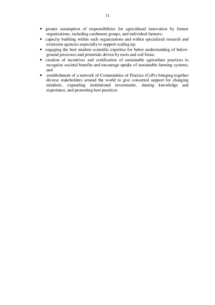 11• greater assumption of responsibilities for agricultural innovation by farmer  organizations, including catchment group...