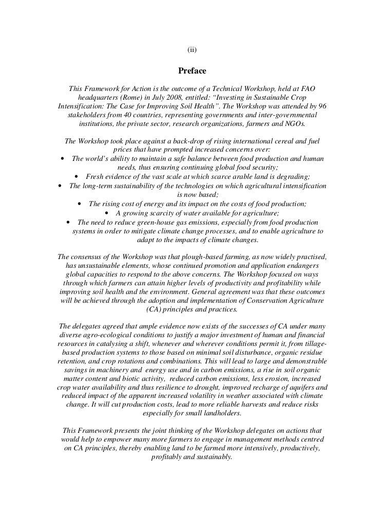(ii)                                        Preface    This Framework for Action is the outcome of a Technical Workshop, h...