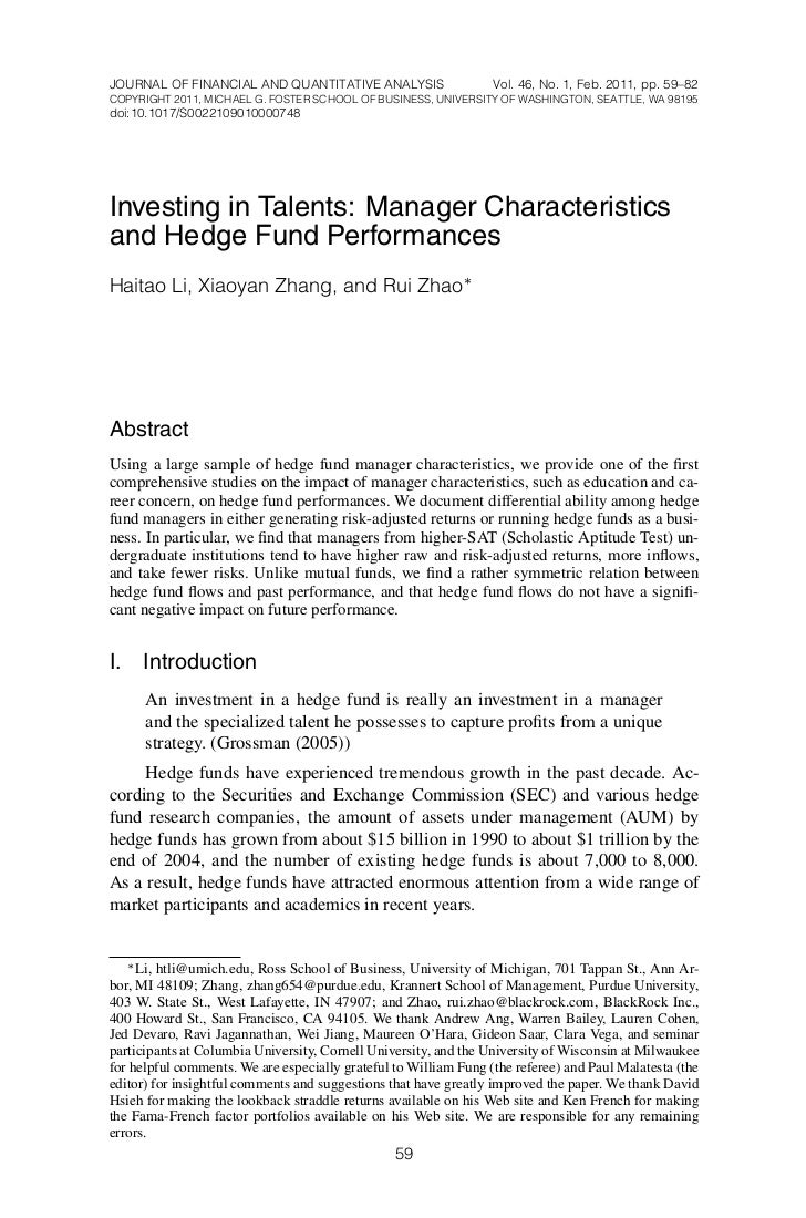 JOURNAL OF FINANCIAL AND QUANTITATIVE ANALYSIS                    Vol. 46, No. 1, Feb. 2011, pp. 59–82COPYRIGHT 2011, MICH...