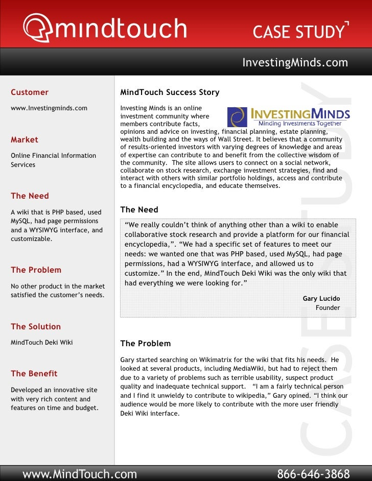 InvestingMinds.com  Customer                          MindTouch Success Story www.Investingminds.com            Investing ...