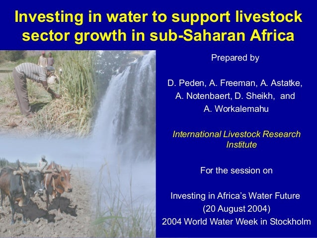 Investing in water to support livestock sector growth in sub-Saharan Africa Prepared by D. Peden, A. Freeman, A. Astatke, ...