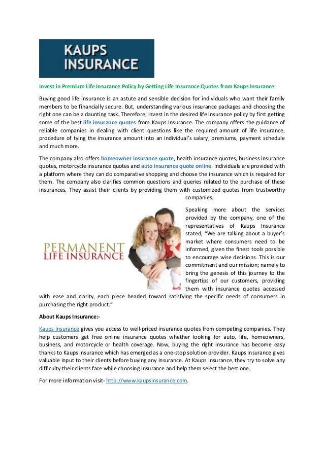 Invest In Premium Life Insurance Policy By Getting Life Insurance Quo Magnificent Life Insurances Quotes