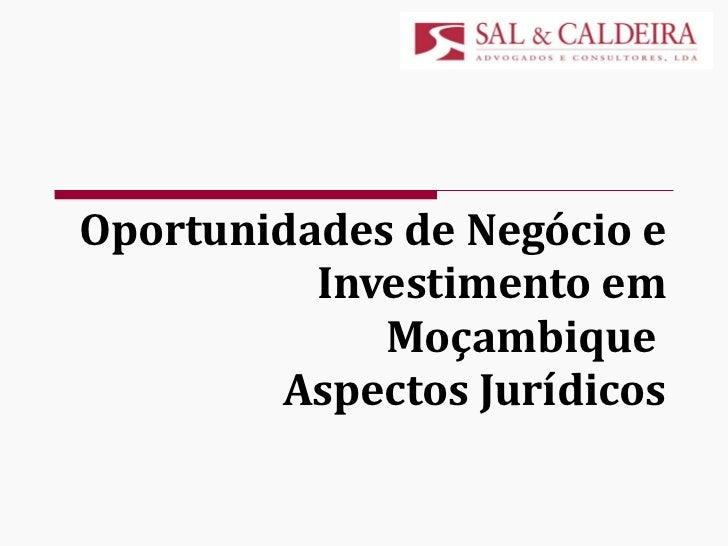Oportunidades de Negócio e Investimento em Moçambique  Aspectos Jurídicos