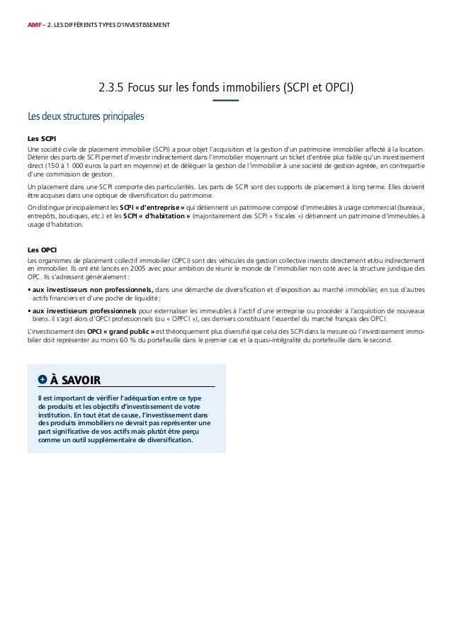 AMF – 2. LES DIFFÉRENTS TYPES D'INVESTISSEMENT Les deux structures principales Les SCPI Une société civile de placement im...