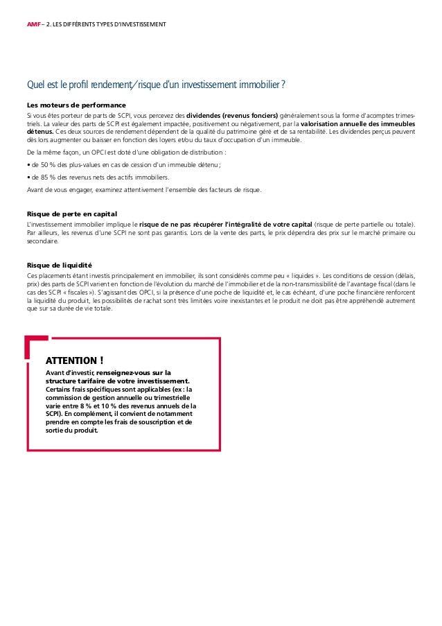 AMF – 2. LES DIFFÉRENTS TYPES D'INVESTISSEMENT Quel est le profil rendement/risque d'un investissement immobilier ? Les mo...