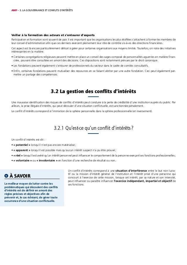 AMF – 3. LA GOUVERNANCE ET CONFLITS D'INTÉRÊTS Veiller à la formation des acteurs et s'entourer d'experts Participation et...