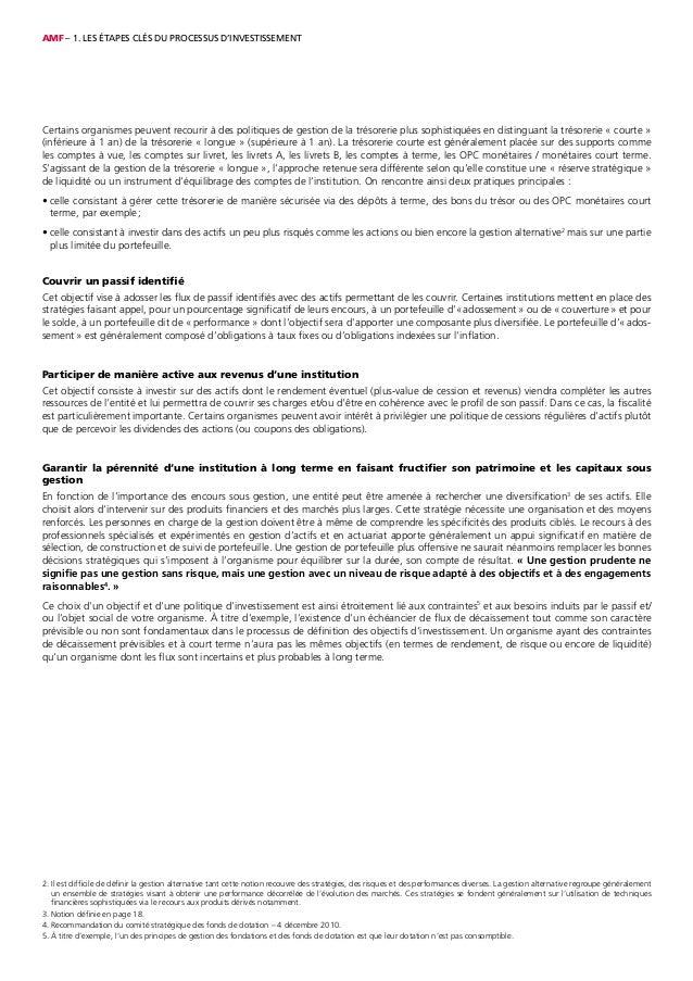 AMF – 1. LES ÉTAPES CLÉS DU PROCESSUS D'INVESTISSEMENT 2. Il est difficile de définir la gestion alternative tant cette no...