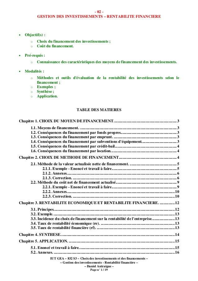 IUT GEA – 832 S3 – Choix des investissements et des financements – – Gestion des investissements - Rentabilité financière ...