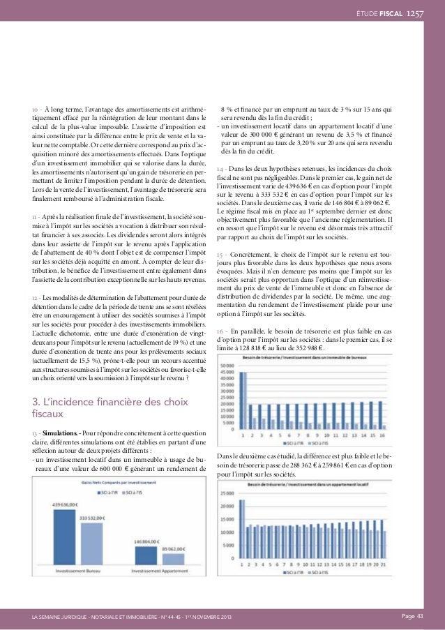 ÉTUDE fiscal  10 - À long terme, l'avantage des amortissements est arithmétiquement effacé par la réintégration de leur mo...