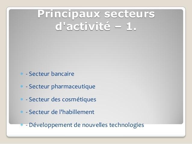 Principaux secteurs         dactivité – 1. - Secteur bancaire - Secteur pharmaceutique - Secteur des cosmétiques - Sec...