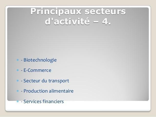 Principaux secteurs         dactivité – 4. - Biotechnologie - E-Commerce - Secteur du transport - Production alimentai...