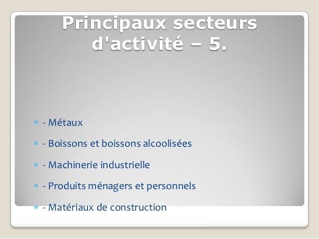 Principaux secteurs         dactivité – 5. - Métaux - Boissons et boissons alcoolisées - Machinerie industrielle - Pro...