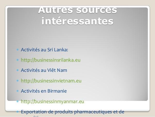 Autres sources          intéressantes Activités au Sri Lanka: http://businessinsrilanka.eu Activités au Viêt Nam http:...
