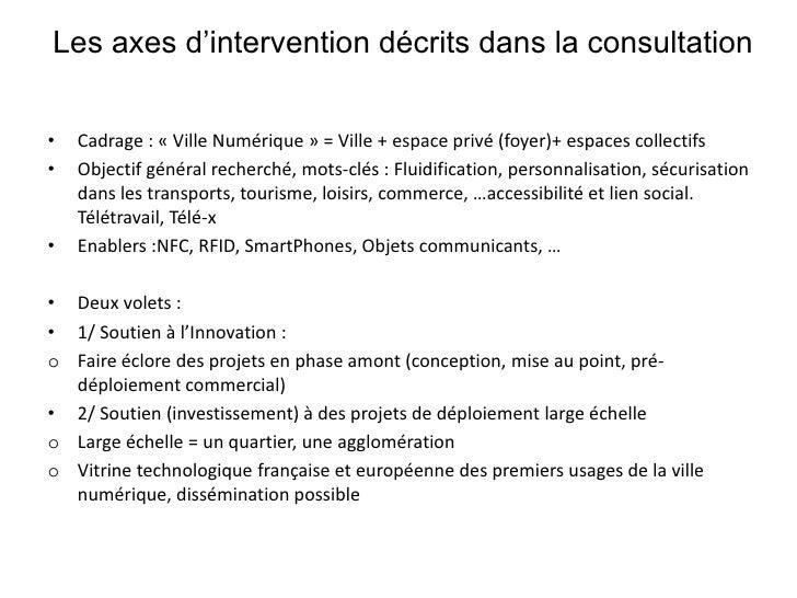 Les axes d'intervention décrits dans la consultation<br />Cadrage : «Ville Numérique» = Ville + espace privé (foyer)+ es...