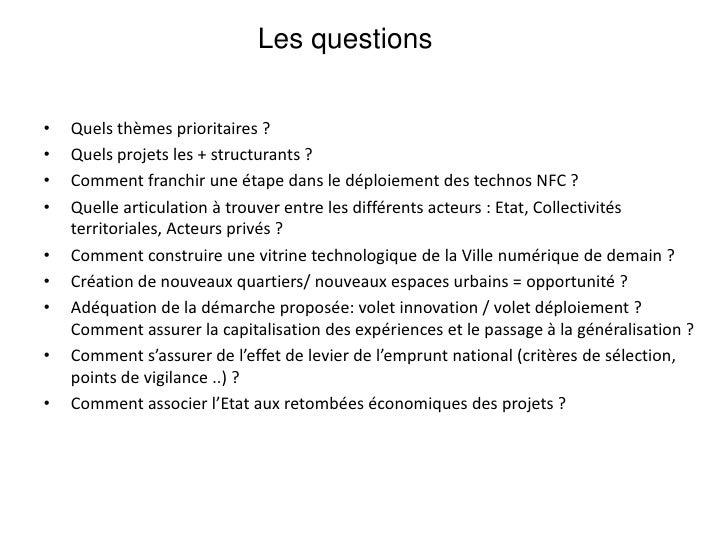 Vitrine technologique française et européenne des premiers usages de la ville numérique, dissémination possible</li></li><...