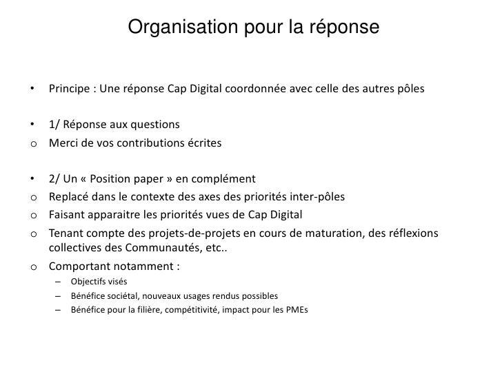 Tour de table des projets, initiatives, réflexions sur les priorités<br /><ul><li>Réponse de le communauté Services et usa...