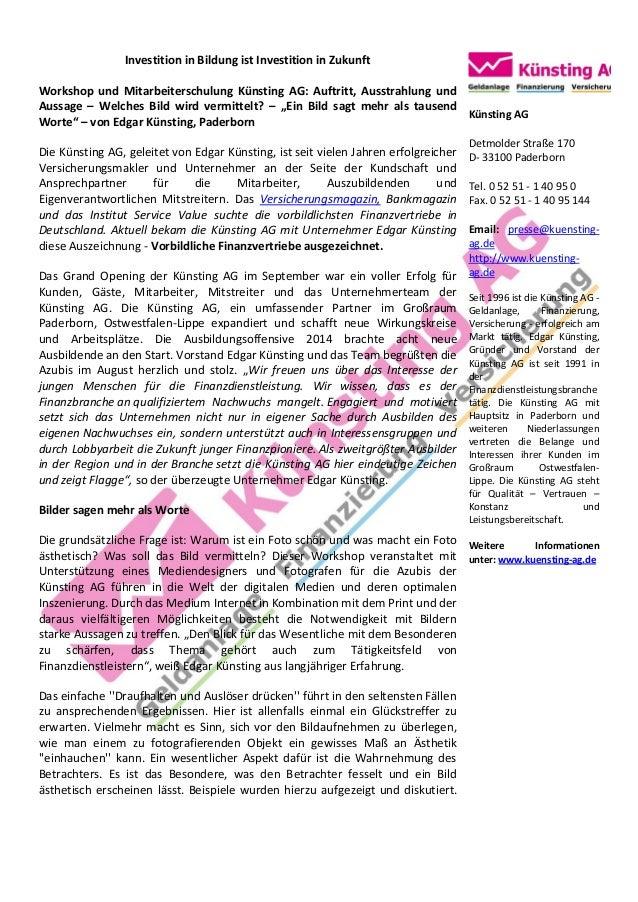 Investition in Bildung ist Investition in Zukunft  Workshop und Mitarbeiterschulung Künsting AG: Auftritt, Ausstrahlung un...