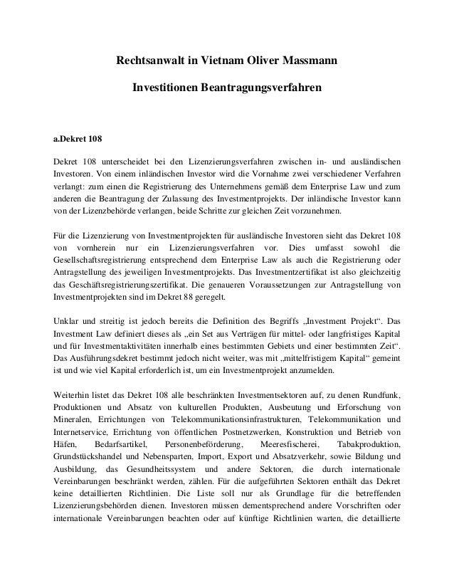 Rechtsanwalt in Vietnam Oliver Massmann Investitionen Beantragungsverfahren a.Dekret 108 Dekret 108 unterscheidet bei den ...
