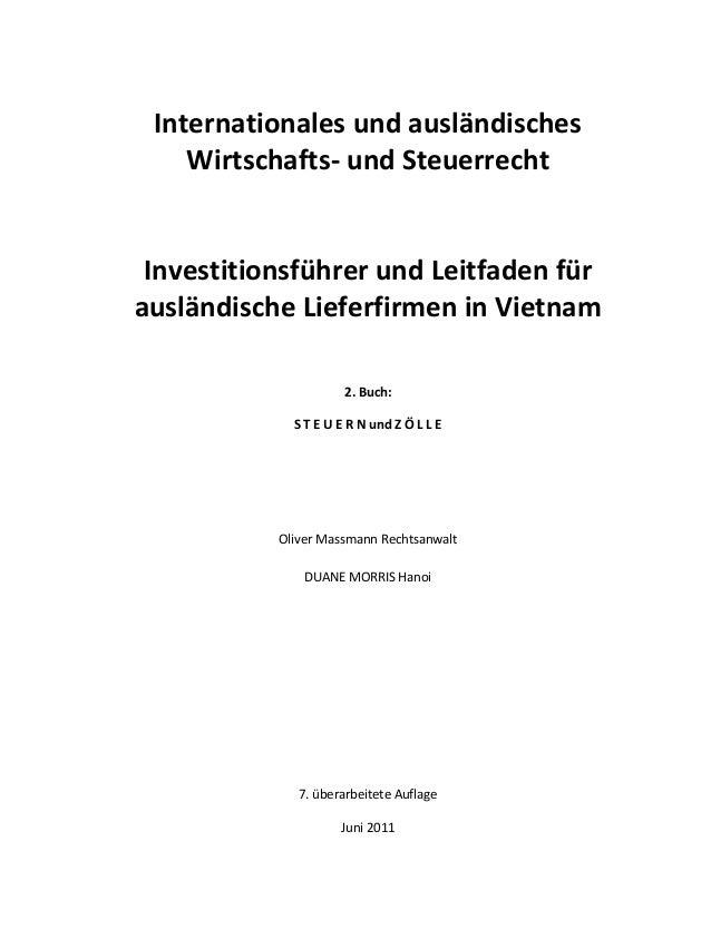Internationales und ausländisches Wirtschafts- und Steuerrecht Investitionsführer und Leitfaden für ausländische Lieferfir...
