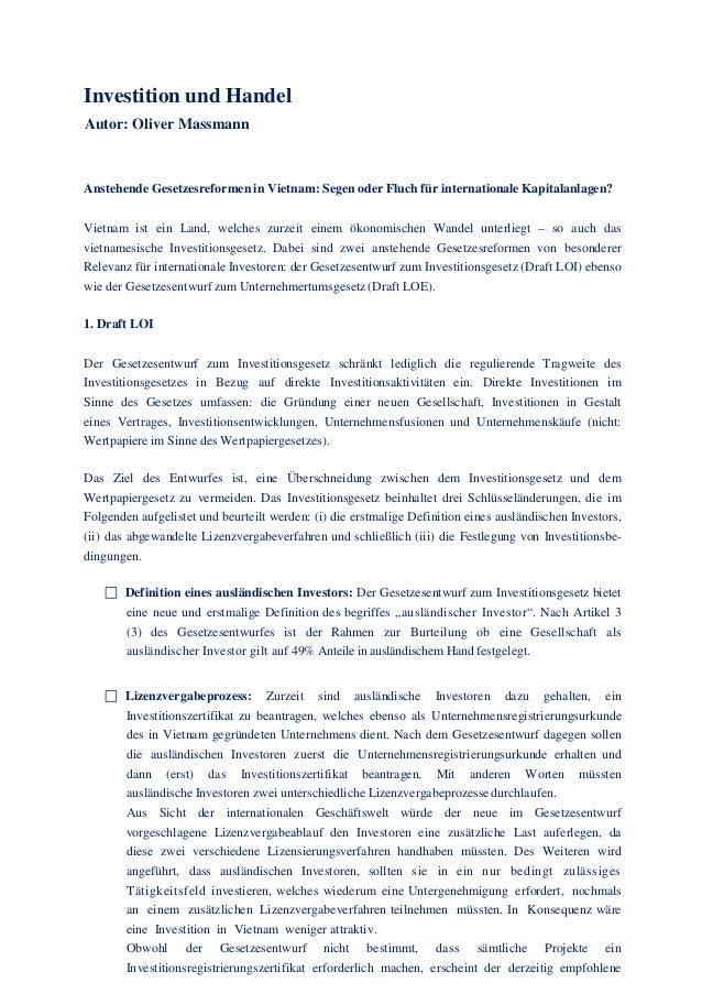 Investition und Handel Autor: Oliver Massmann Anstehende Gesetzesreformen in Vietnam: Segen oder Fluch für internationale ...