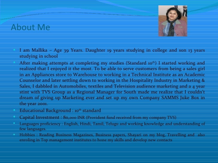 About Me I am Mallika – Age 39 Years. Daughter 19 years studying in college and son 13 years  studying in school After m...