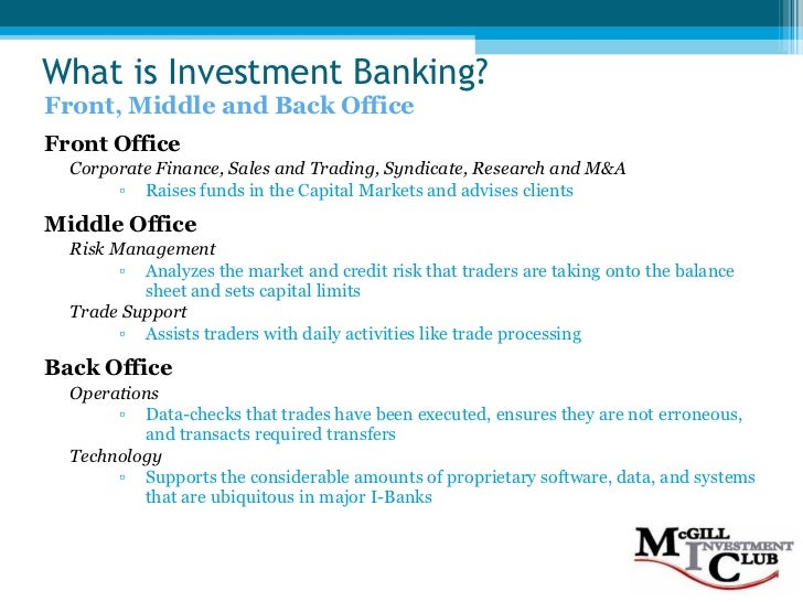 Investment banking 101 f08 - Derivatives middle office ...