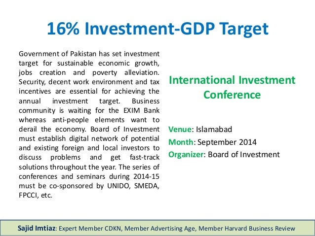 16% Investment-GDP Target International Investment Conference Venue: Islamabad Month: September 2014 Organizer: Board of I...