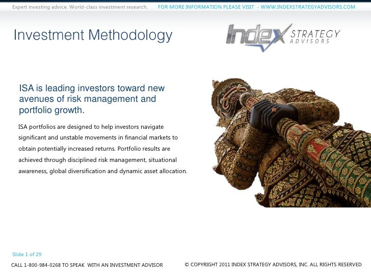 Expert investing advice. World-class investment research.   FOR MORE INFORMATION PLEASE VISIT - WWW.INDEXSTRATEGYADVISORS....