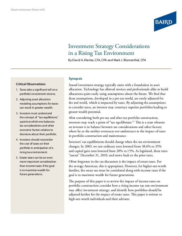 Investment Strategy Considerations in a Rising Tax Environment By David A. Klenke, CFA, CPA and Mark J. Blumenthal, CPA Sy...