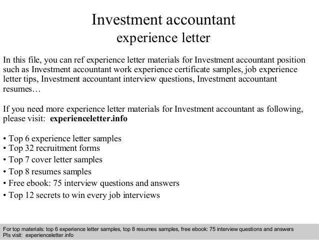 Investment accountant experience letter