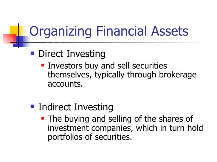 Organizing Financial Assets   Direct Investing       Investors buy and sell securities        themselves, typically thro...