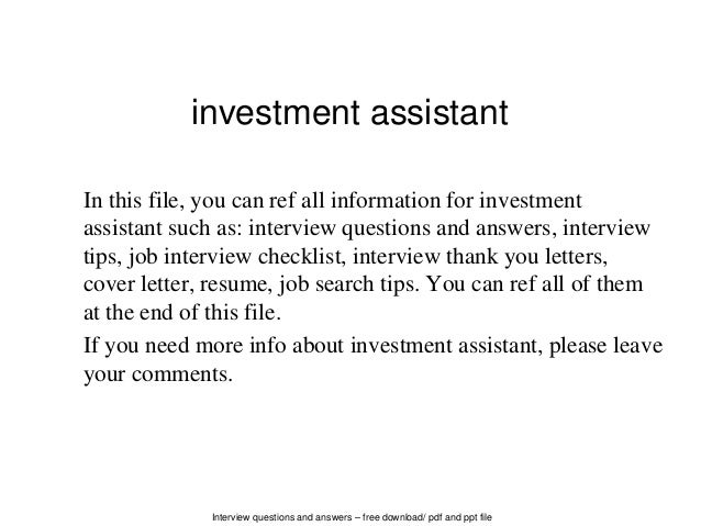 Interview Questions And Answers U2013 Free Download/ Pdf And Ppt File Investment  Assistant In This ...