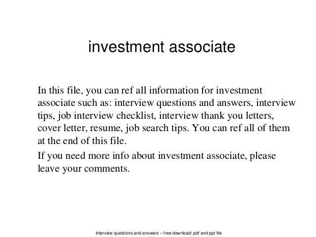 Investment associate
