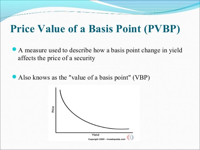 Price Value of a Basis Point (PVBP) A measure used to describe how a basis point change in yield affects the price of a s...