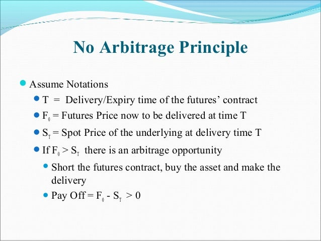 No Arbitrage Principle Assume Notations T = Delivery/Expiry time of the futures' contract F0 = Futures Price now to be ...