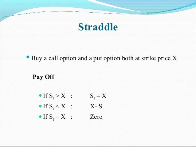 Straddle  Buy a call option and a put option both at strike price X Pay Off If ST > X : ST – X If ST < X : X- ST If ST...