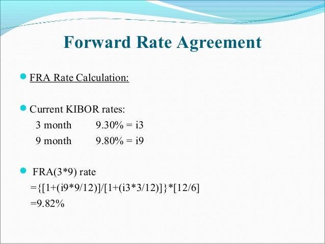 Forward Rate Agreement FRA Rate Calculation: Current KIBOR rates: 3 month 9.30% = i3 9 month 9.80% = i9  FRA(3*9) rate ...