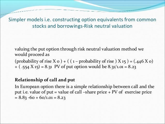 Simpler models i.e. constructing option equivalents from common stocks and borrowings-Risk neutral valuation valuing the p...