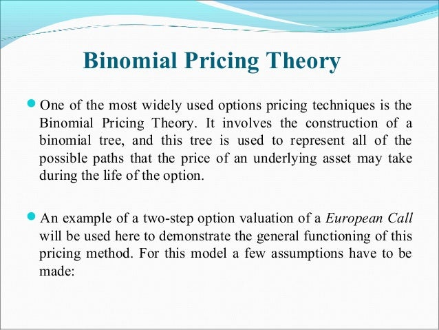 Binomial Pricing Theory One of the most widely used options pricing techniques is the Binomial Pricing Theory. It involve...