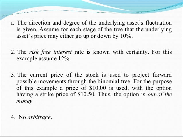 1. The direction and degree of the underlying asset's fluctuation is given. Assume for each stage of the tree that the und...