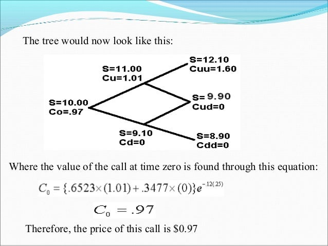 The tree would now look like this: Where the value of the call at time zero is found through this equation: Therefore, the...