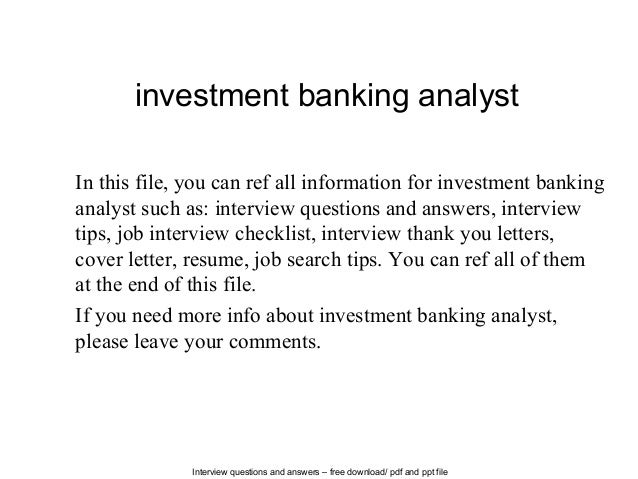 Investment Banking Analyst Interview Questions in Bangalore