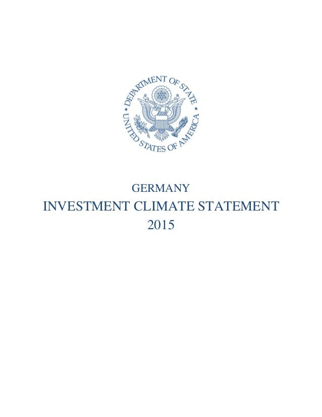 GERMANY INVESTMENT CLIMATE STATEMENT 2015