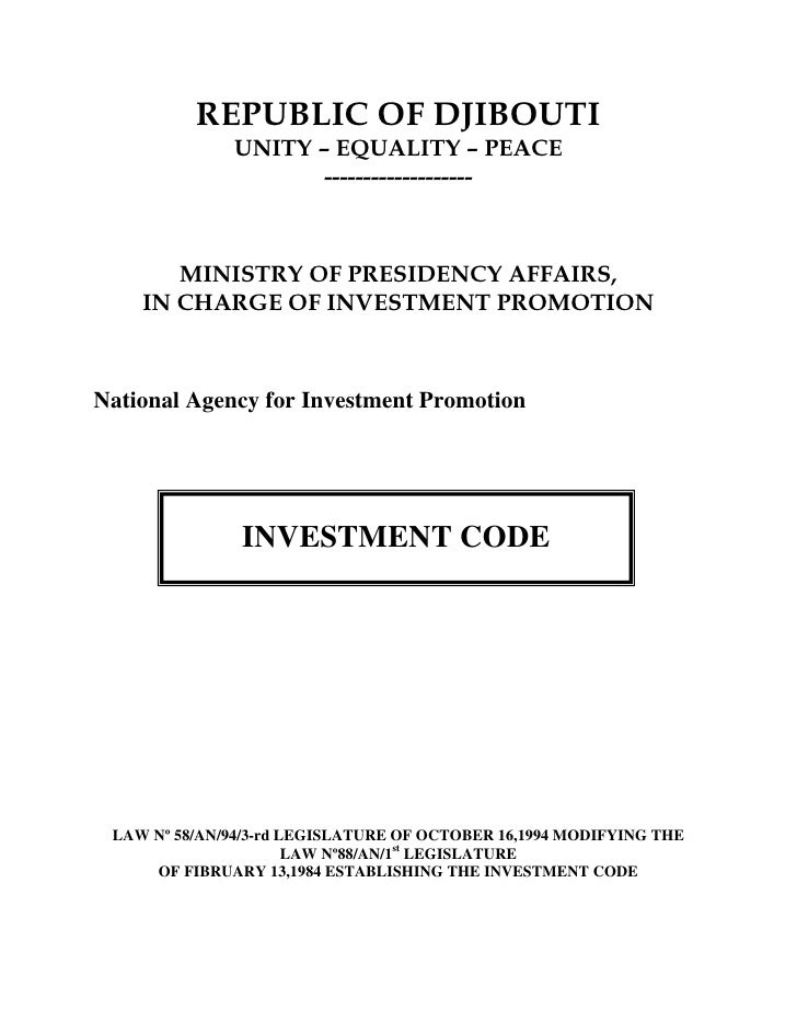 REPUBLIC OF DJIBOUTI               UNITY – EQUALITY – PEACE                      -------------------           MINISTRY OF...
